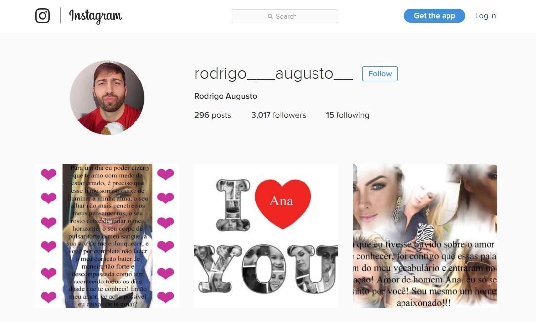 No Instagram de Rodrigo há várias declarações de amor para a apresentadora  aa87db766d